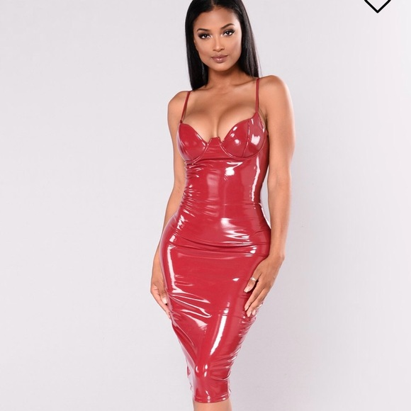 FashionNova Rita Hayworth Faux Leather Dress🌹